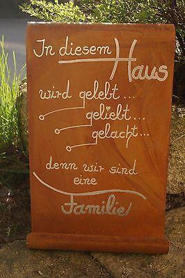 Edelrost Tafel Dieses Haus Gartendekoration Schild