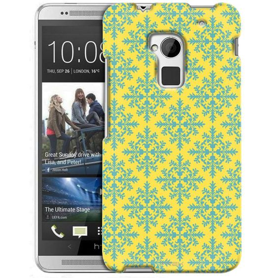 HTC One Max Victorian Seamless Teal Blue on Yellow Slim Case