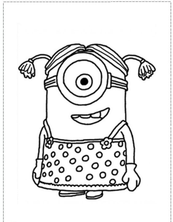 Coloring Page With A Minion From Despicable Me And 2 This For Printing Show Pointing Upwards Wi