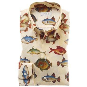 159 eton shirt contemporary fit fish print http www for Fish print shirt