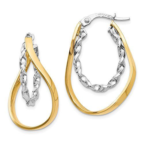 14K Solid Yellow Gold Polished and Twist Hoop Earring with Hinged Closure For Women And Girls