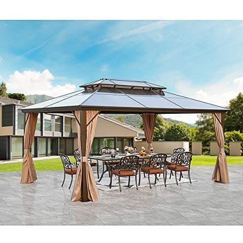 Yoleny 12 X16 Outdoor Polycarbonate Double Roof Hardtop Gazebo Canopy Curtains Aluminum Frame With Netting For Garde In 2020 Hardtop Gazebo Gazebo Canopy Gazebo