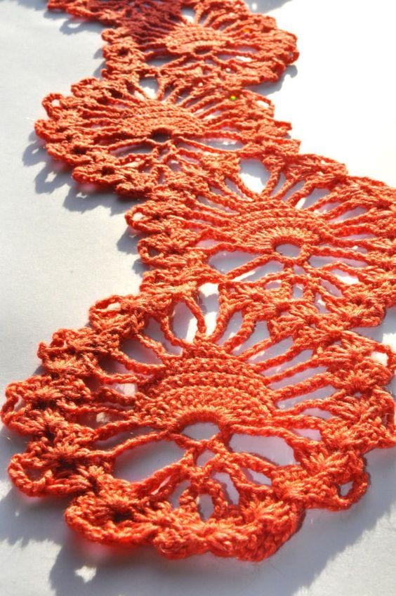 Orange crochet lace scarf, neck warmer
