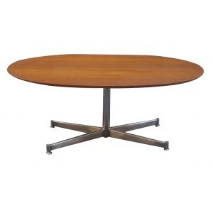 Table basse ovale plateau teck pied metal florence knoll for Plateau table ovale