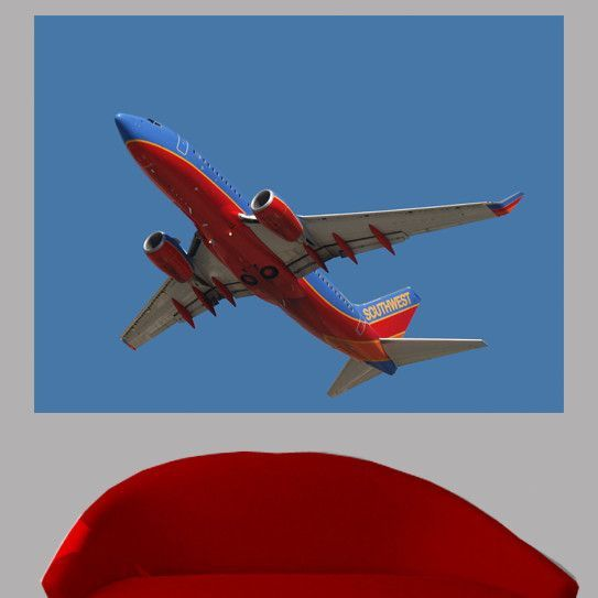 Chibi Southwest 737 Flyover Glossy Wall Mural