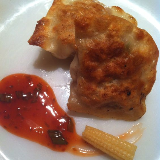 Pan seared pork dumplings with a sweet and sour sauce | Cookin' up a ...