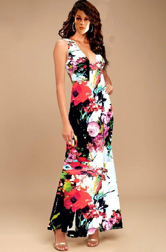 Halter Maxi Dress With Cross Over Back Straps Floral Design Xs L Dresses Maxi Dress Custom Fashion