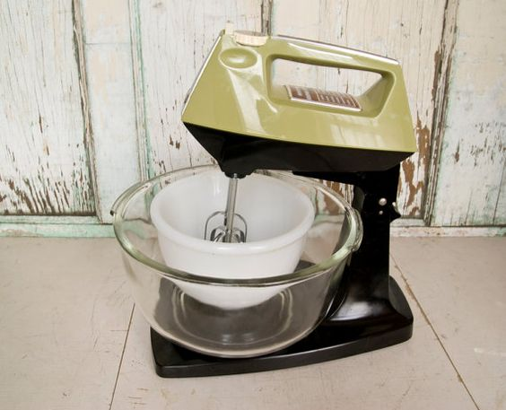 Vintage Sunbeam Mixmaster Mixer Avocado Green with 2 by @foundhere, $60.00
