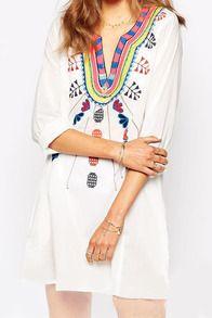 White V Neck Embroidered Mini Dress
