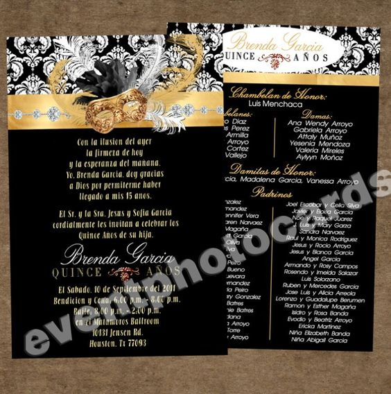 Masquerade Invitation for Sweet 16 - Gold & Black Masquerade Invitation - Masquerade - Theme Parties - Quinceanera Invitations, Wedding Photocards, Masquerade Invitations - (Powered by CubeCart)
