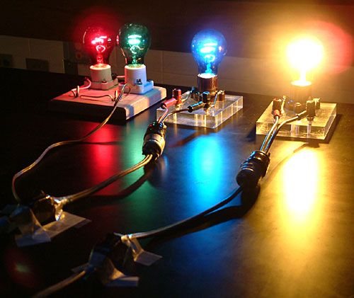 Colored Light Bulbs uiuc physics lecture demo: colored light bulbs  different colors