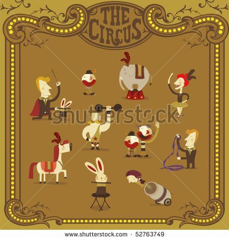 circus people - stock vector