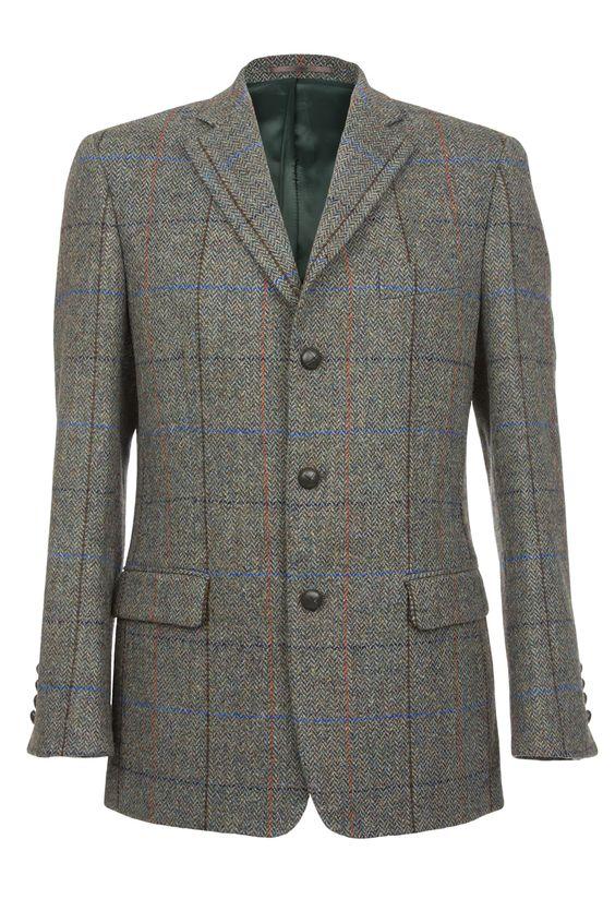 Langdon Harris Tweed Jacket in green herringbone.