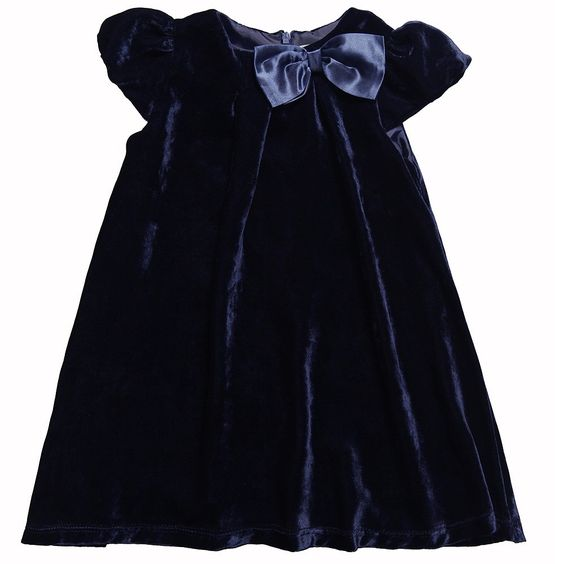 Navy Blue Velvet Dress with Bow - Dresses - Girl  Childrensalon ...