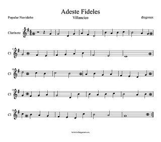 diegosax: Adeste Fideles Partitura para Flauta, saxofón alto, violín, trompeta…