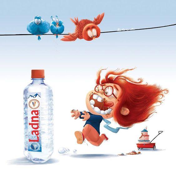 I drink water after eating something sweet. Ladna Illustration by Tomi Dzurovski