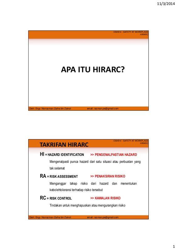 Hazard Identification, Risk Assessment and Risk Control (HIRARC - risk assessment