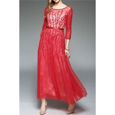 awesome Embroidered Maxi Tulle Dress