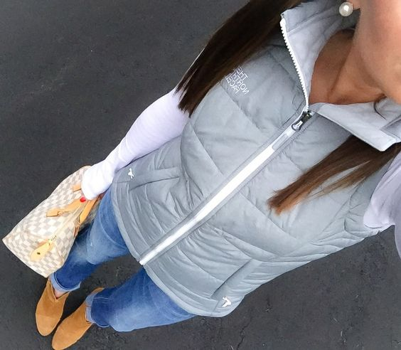 North Face Vest and Boyfriend Jeans