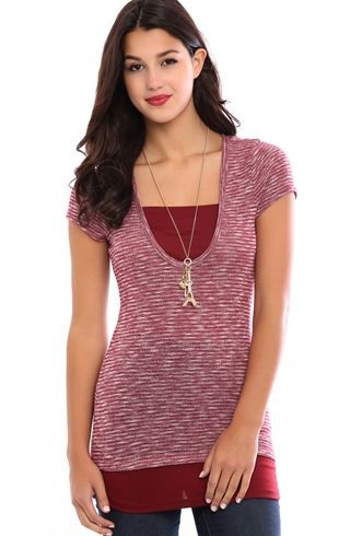 Deb Shops Short Sleeve 2fer Top $15.75: