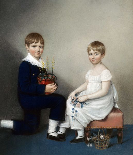 Charles and Catherine Darwin, 1816, by Sharples: