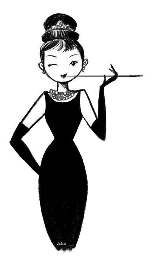 This English Rose: A cute cartoon illustration of Audrey Hepburn : Breakfast at Tiffany's