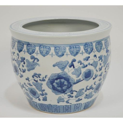 Large Vintage Hand Painted Chinese Blue White Planter Fish Bowl Jardiniere White Planters White Ceramic Planter Blue And White
