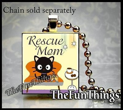 Scrabble Tile Necklace Kitty Rescue Mom Pendant Custom Made Jewelry Cat Lovers