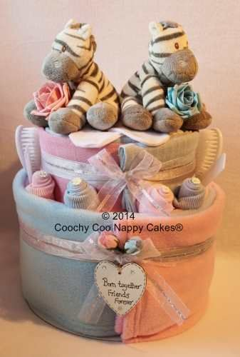 Baby Gift Ideas Twins : Twin baby boy and girl nappy cake gifts