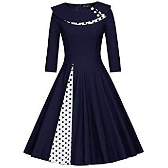 Misshow Damen Vintage Kleid 50er Jahre Lamgarm Rockabilly Kleid Festlich Kleid Faltenrock Gepunkt Knielang Gr Xl Na Vintage Kleider Cocktailkleid Bekleidung