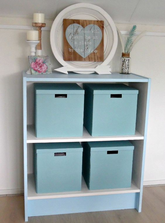 Chalk Paint Furniture Makeover - See before and after photos of old ugly office bookcase which has been transformed using Everlong Grecian Blue & Porcelain Chalk Paint / Krijtverf.
