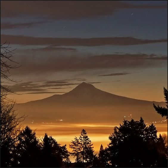 Foggy City Mt Hood Dawn by victorvonsalza, via Flickr