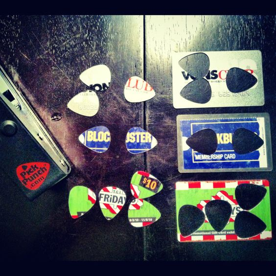 "It a ""hole punch"" for guitar picks! I made these on my dinner table out of old cards in my wallet. -Coffey"