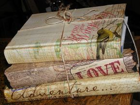 making an original accessories from old unused books, crafts, home decor, Here is a travel theme set of scrapbook paper covered books Books are an super easy and inexpensive way to add an accessory to a room