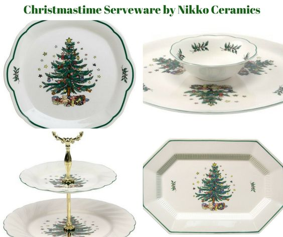 Christmastime Tree Serveware by Nikko Ceramics