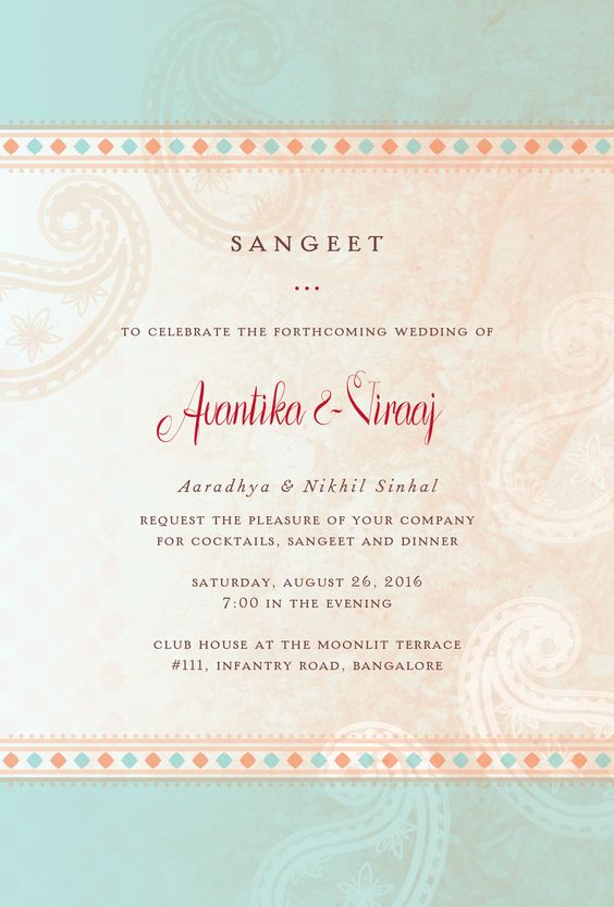 Exclusive Wedding Invitation Cards Sangeet Reception Indian Screen Printed