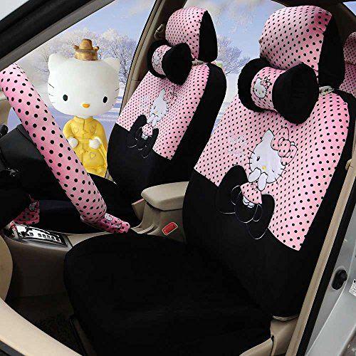 Hello Kitty 18pcs Pink Black Soft Plush Women Automotive Car Seat Covers Steering Wheel Cover