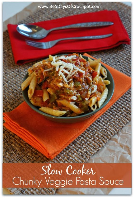 Recipe for Slow Cooker Chunky Veggie Pasta Sauce