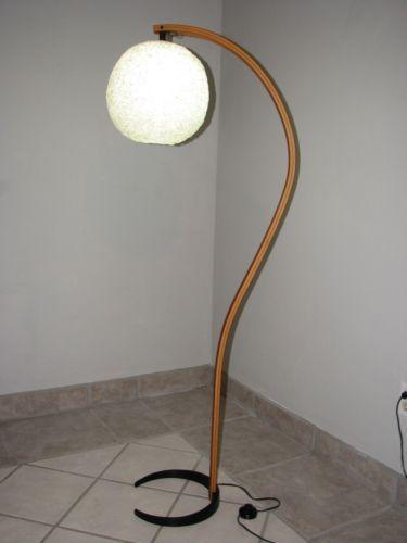 Teak Floor Lamps: Mads Caprani Mid Century Modern Teak Floor Lamp Vintage Lucite Spaghetti  Shade | eBay,Lighting