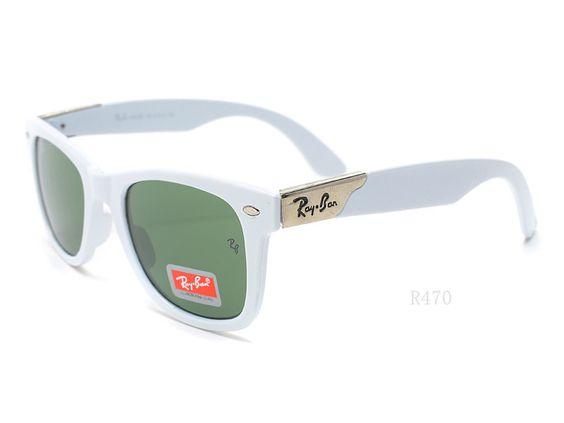 Ray-Ban Wayfarer 2140 White frame green lens Sunglasses