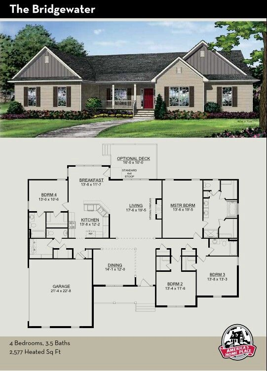 Switch The 4th Bedroom And The Master Suite Scoot The Kitchen And Living Over Sims House Plans House Blueprints Small House Plans
