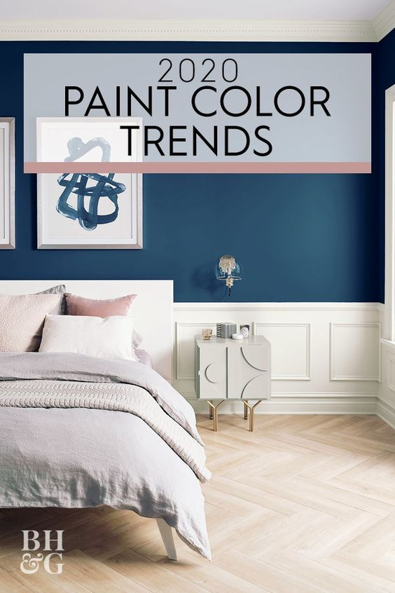 Navy blue is considered to be one of the most relaxing shades, so it's only fitting that Sherwin-Williams chose it as the company's 2020 color of the year. Naval SW 6244 is a rich shade of blue that effortlessly pairs with both serene, muted palettes and flashy glamorous settings. #coloroftheyear #colortrends #paintcolor #painttrendsfor2020 #dreamhome #bhg