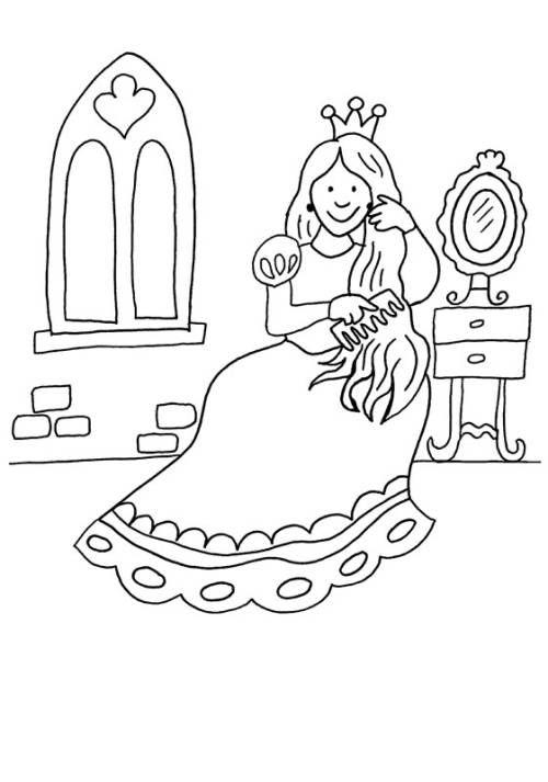 Prinzessin Prinzessin Kammt Sich Die Haare Zum Ausmalen Ausmalen Kinderfarben Ausmalbilder