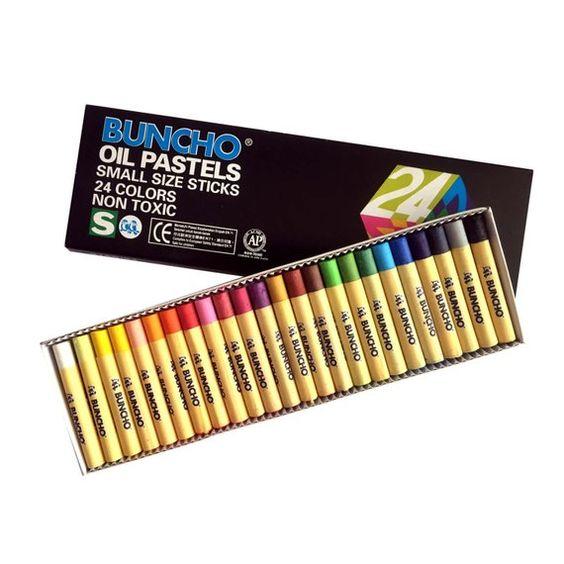 Buncho 24 Colour Oil Pastels Colors Non Toxic Crayon Kids Art