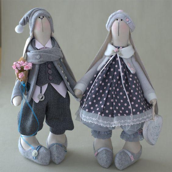Pam Bunny-Conejo Liebre juguete juguete por BroderieLittleCorner