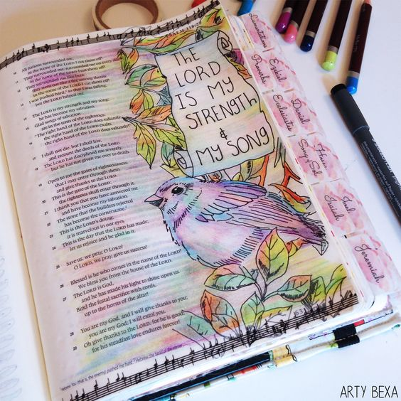 Artwork inspired byPsalm 118:14The LORD is my strength and my song; he has become my salvation.