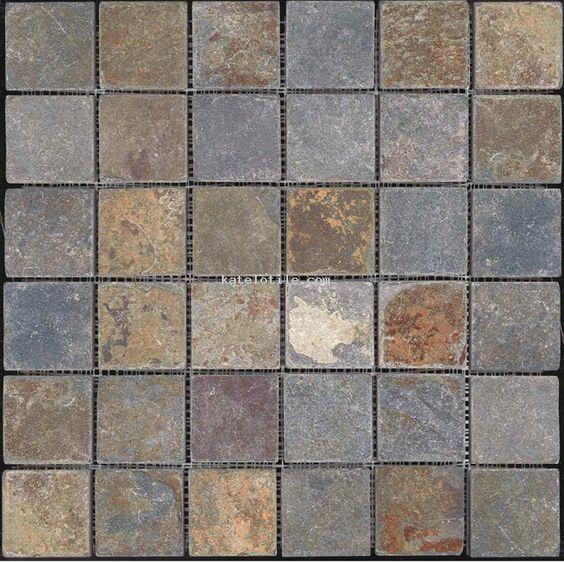 Brown And Slate Blue Living Room: Rustic Brown Slate Mosaic