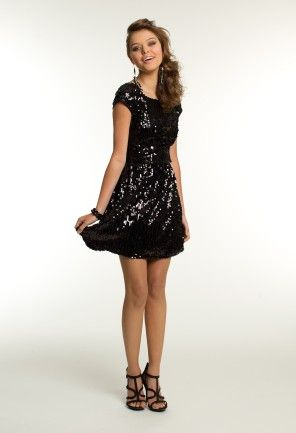Short Sequin Party Dress with V-Back from Camille La Vie and Group USA #homecoming #homecomingdresses #homecoming2013