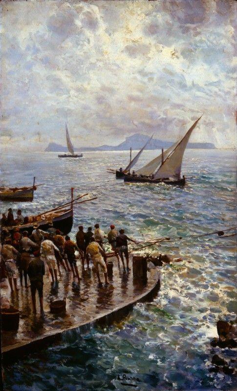 Attilio Pratella (Italie, ) – Pescatori sul molo (ca 1900) Fondazione Cariplo Artgate