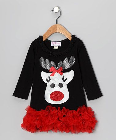 Another great find on #zulily! Black & Red Reindeer Ruffle Dress - Infant, Toddler & Girls #zulilyfinds